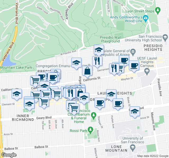map of restaurants, bars, coffee shops, grocery stores, and more near 3876 California Street in San Francisco