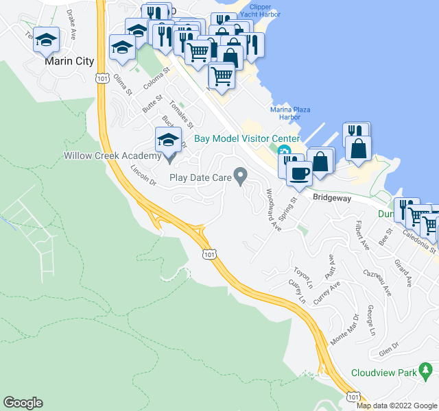 map of restaurants, bars, coffee shops, grocery stores, and more near 14 Kendell Ct in Sausalito