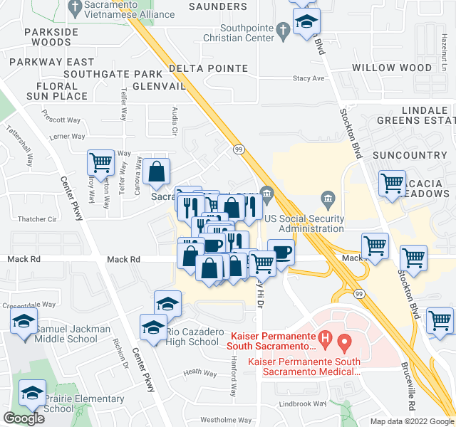 map of restaurants, bars, coffee shops, grocery stores, and more near 6453 Creek Centre Court in Sacramento