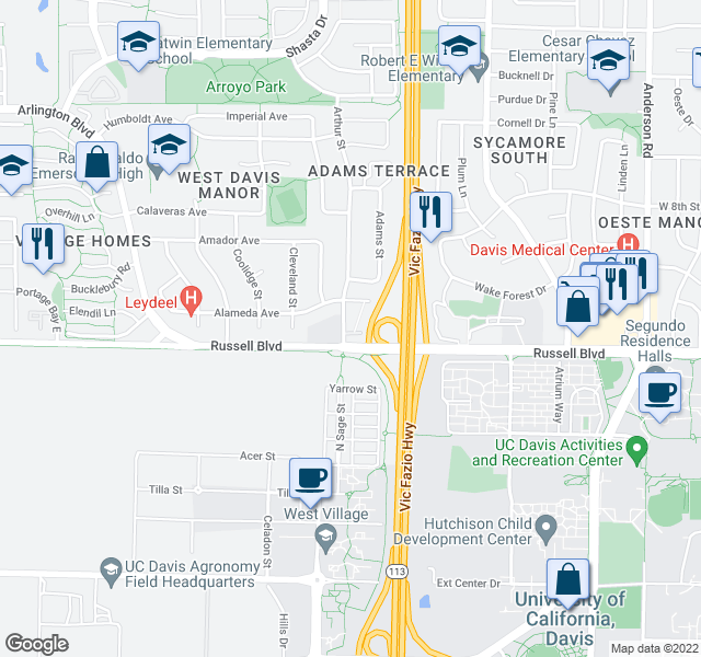 map of restaurants, bars, coffee shops, grocery stores, and more near 1617 Russell Blvd in Davis