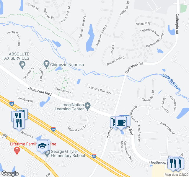 map of restaurants, bars, coffee shops, grocery stores, and more near 14220 Hunters Run Way in Gainesville