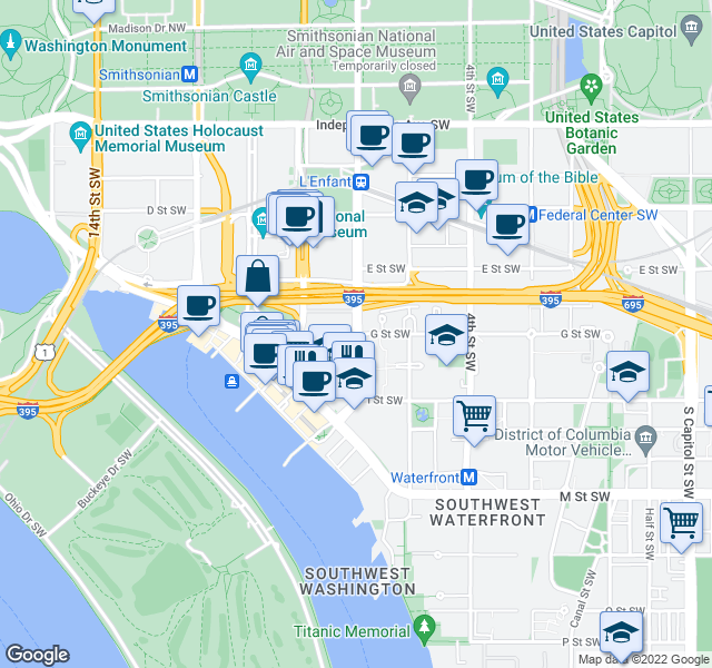map of restaurants, bars, coffee shops, grocery stores, and more near 7th Street Southwest & G Street Southwest in Washington