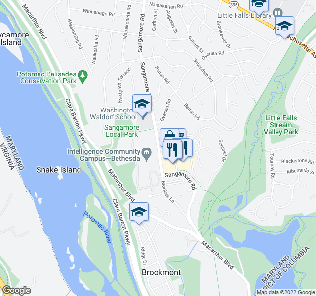 map of restaurants, bars, coffee shops, grocery stores, and more near 4600 Sangamore Rd in Bethesda