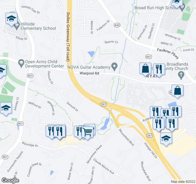 map of restaurants, bars, coffee shops, grocery stores, and more near Dulles Greenway in Ashburn