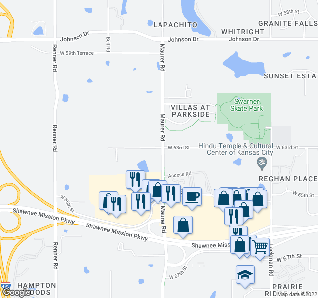 map of restaurants, bars, coffee shops, grocery stores, and more near West 68th Street in Shawnee