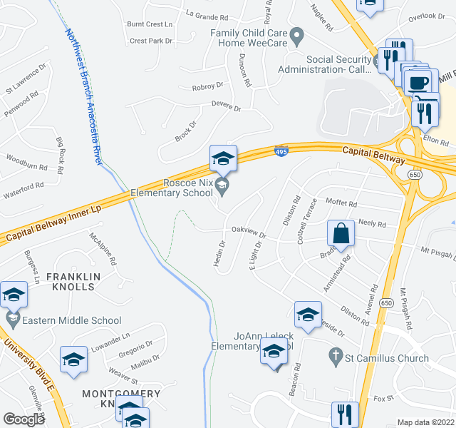 map of restaurants, bars, coffee shops, grocery stores, and more near 9802 Arbor Hill Dr in Silver Spring