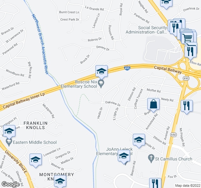 map of restaurants, bars, coffee shops, grocery stores, and more near 1121 Corliss St in Silver Spring