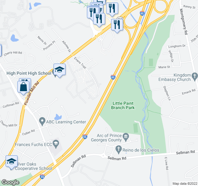 map of restaurants, bars, coffee shops, grocery stores, and more near 3811-3813 Evans Trail in Beltsville