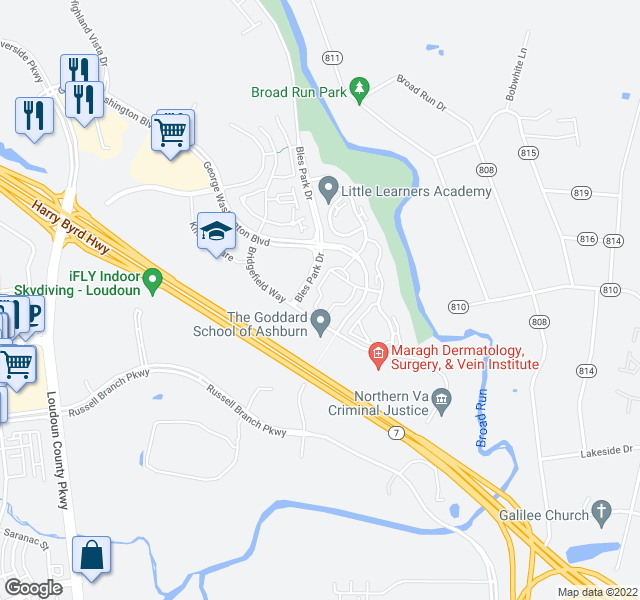 map of restaurants, bars, coffee shops, grocery stores, and more near Riverside Pkwy in Ashburn