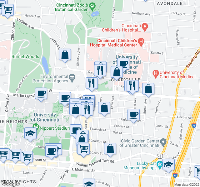 map of restaurants, bars, coffee shops, grocery stores, and more near Martin Luther King Dr E & Euclid Ave in Cincinnati