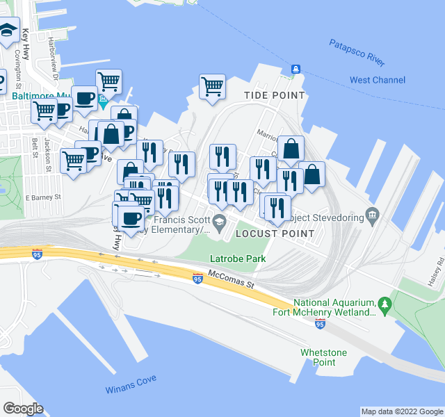 map of restaurants, bars, coffee shops, grocery stores, and more near 1425 E Fort Ave in Baltimore