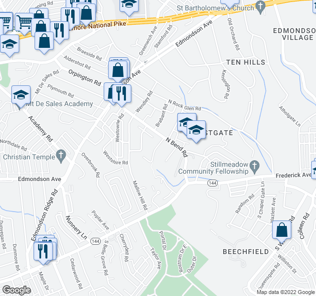 map of restaurants, bars, coffee shops, grocery stores, and more near 5300-5458 Jamestowne Court in Baltimore