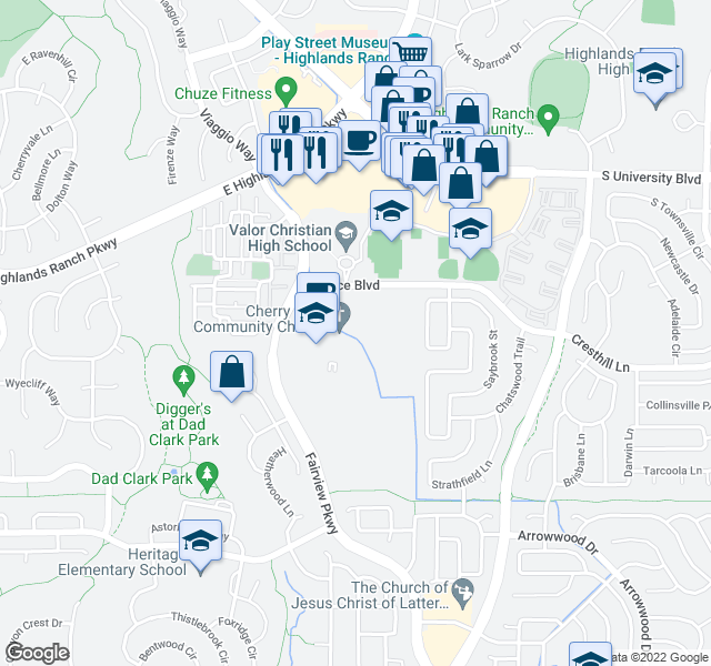 map of restaurants, bars, coffee shops, grocery stores, and more near 3900 Grace Blvd in Littleton