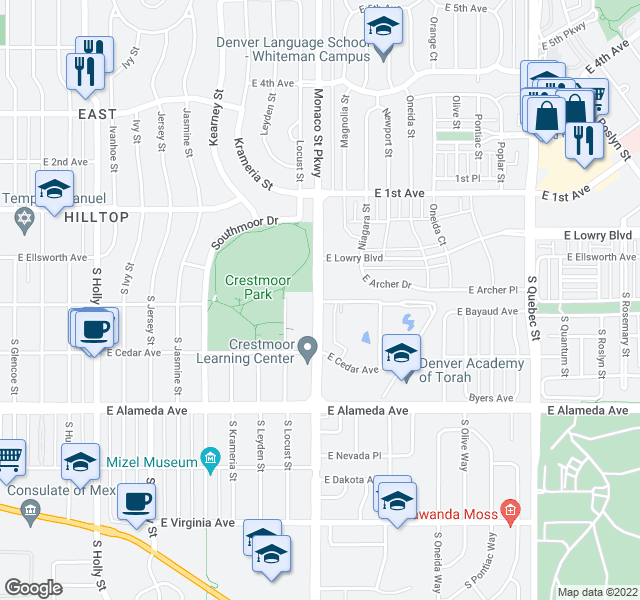 map of restaurants, bars, coffee shops, grocery stores, and more near 1-99 S Monaco Pkwy in Denver