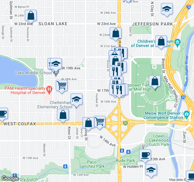 map of restaurants, bars, coffee shops, grocery stores, and more near 3201-3235 W 17th Ave in Denver
