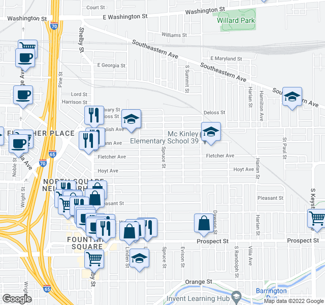 map of restaurants, bars, coffee shops, grocery stores, and more near 1437 Fletcher Avenue in Indianapolis
