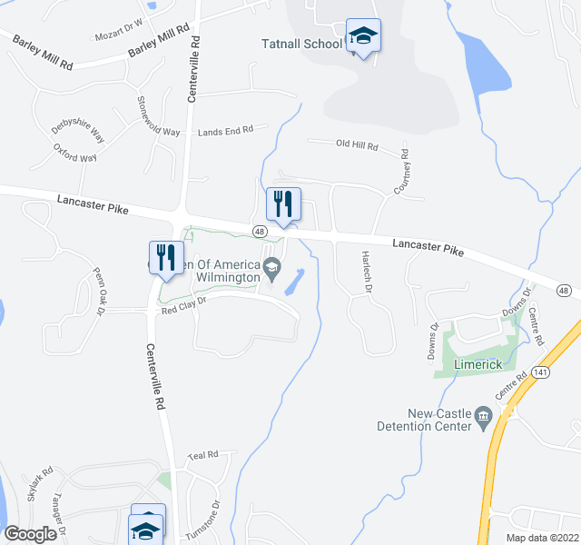 map of restaurants, bars, coffee shops, grocery stores, and more near 100 Little Falls Dr in Wilmington