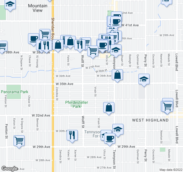map of restaurants, bars, coffee shops, grocery stores, and more near 4709 W 34th Ave in Denver
