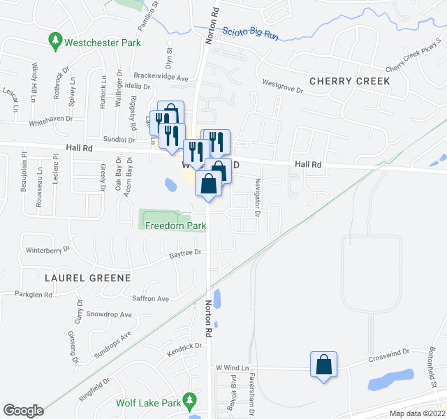 map of restaurants, bars, coffee shops, grocery stores, and more near 5400-5698 Lindbergh Boulevard in Columbus