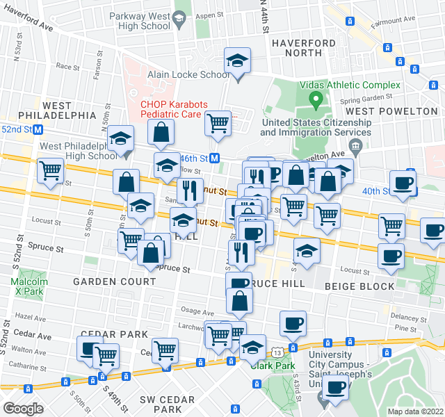 map of restaurants, bars, coffee shops, grocery stores, and more near Sansom Street & South 46th Street in Philadelphia