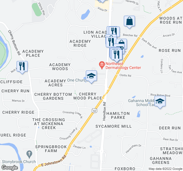 map of restaurants, bars, coffee shops, grocery stores, and more near 817 N Hamilton Rd in Gahanna