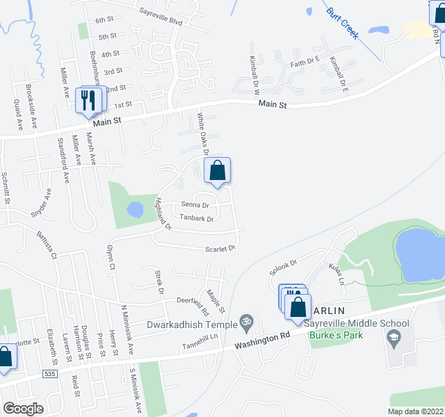 map of restaurants, bars, coffee shops, grocery stores, and more near 7 Rubar Drive in Sayreville