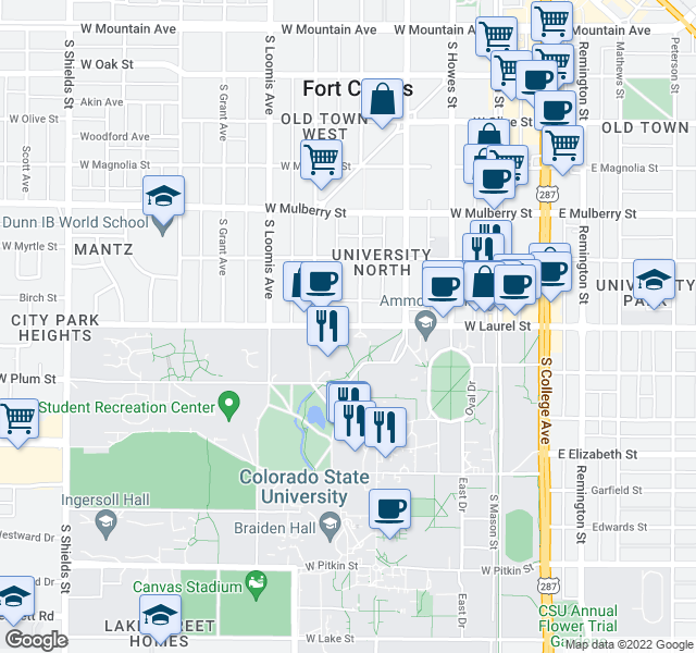 map of restaurants, bars, coffee shops, grocery stores, and more near 501-599 W Laurel St in Fort Collins