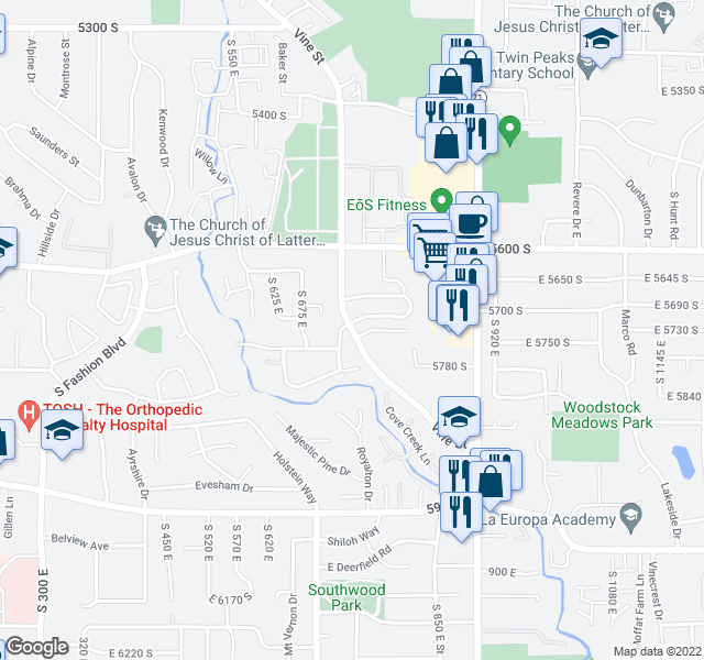map of restaurants, bars, coffee shops, grocery stores, and more near 5750 S 730 E in Salt Lake City