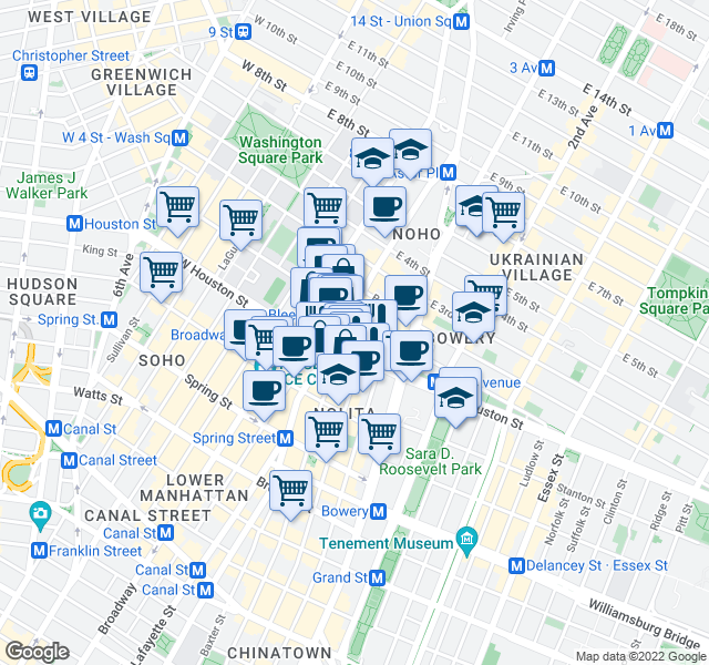 map of restaurants, bars, coffee shops, grocery stores, and more near 34-40 East Houston Street in New York