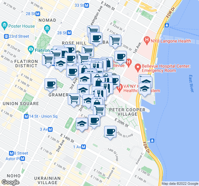 map of restaurants, bars, coffee shops, grocery stores, and more near 321 East 22nd Street in New York