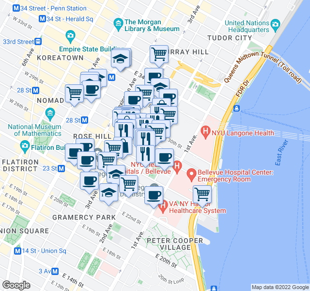 map of restaurants, bars, coffee shops, grocery stores, and more near 518 2nd Avenue in New York