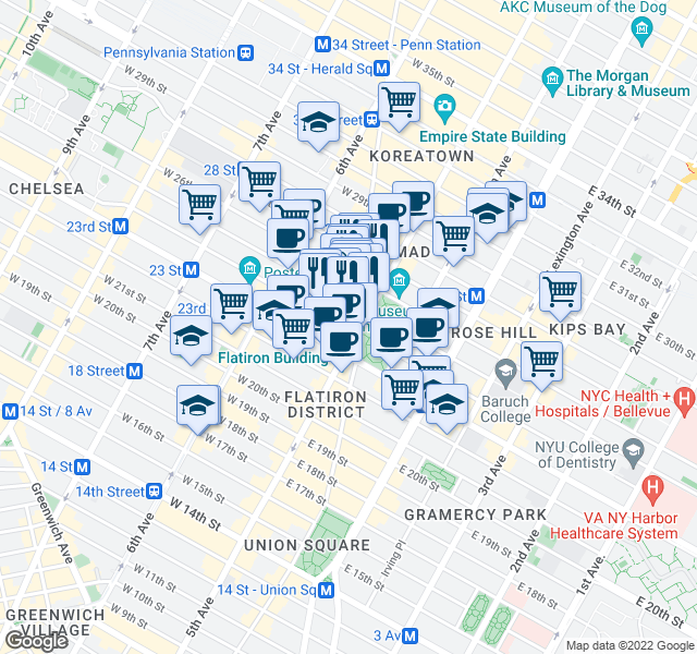map of restaurants, bars, coffee shops, grocery stores, and more near 2-8 West 26th Street in New York