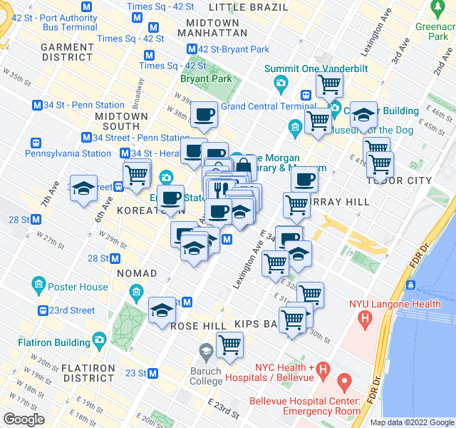 map of restaurants, bars, coffee shops, grocery stores, and more near 20 Park Avenue in New York