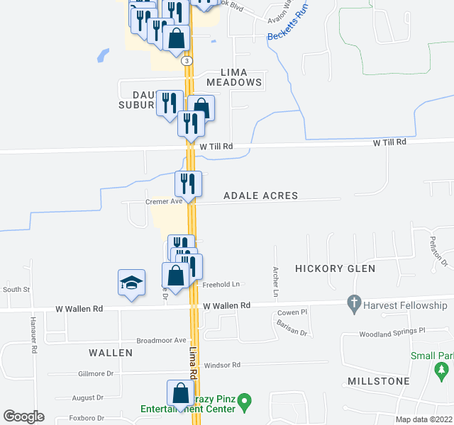 map of restaurants, bars, coffee shops, grocery stores, and more near 1517 Rabus Drive in Fort Wayne