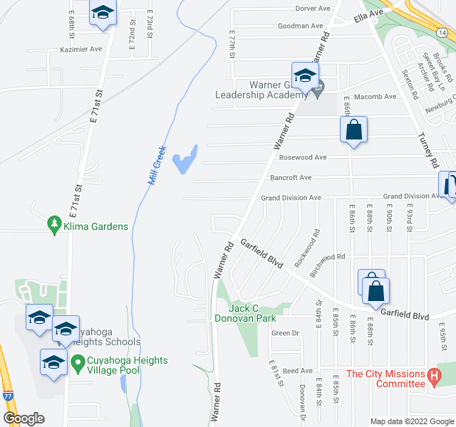 map of restaurants, bars, coffee shops, grocery stores, and more near 4601-4699 E 78th Pl in Garfield Heights