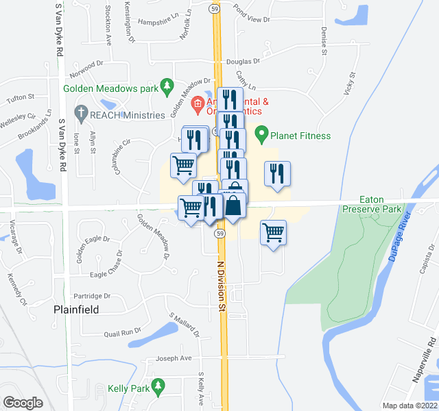 map of restaurants, bars, coffee shops, grocery stores, and more near State Highway 59 in Plainfield
