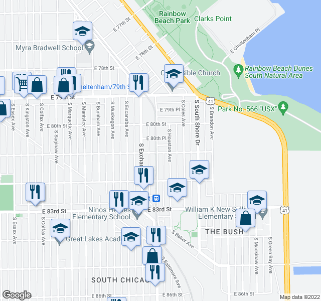 map of restaurants, bars, coffee shops, grocery stores, and more near 3004 East 81st Street in Chicago