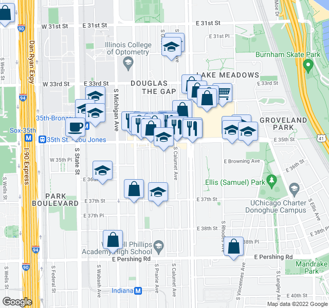 map of restaurants, bars, coffee shops, grocery stores, and more near 3518 S Giles Ave in Chicago