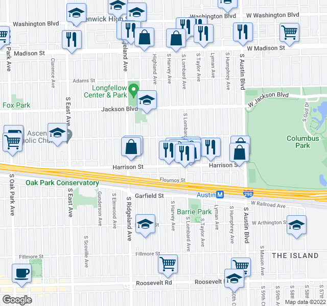 map of restaurants, bars, coffee shops, grocery stores, and more near  in Oak Park