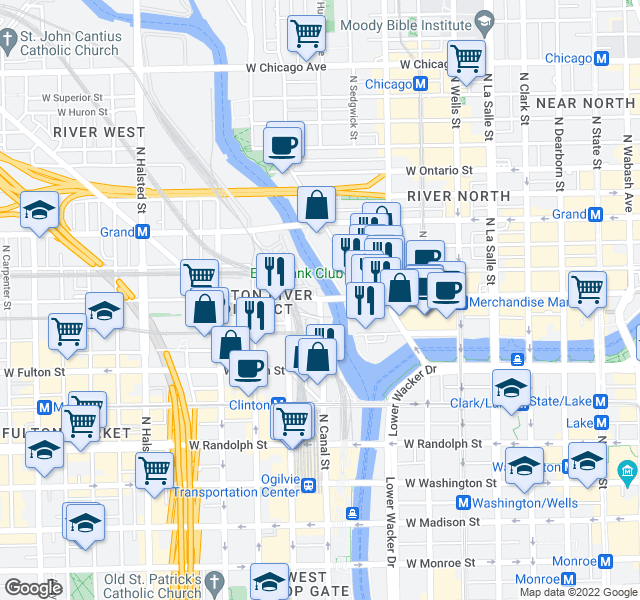 map of restaurants, bars, coffee shops, grocery stores, and more near West Kinzie Street & North Canal Street in Chicago