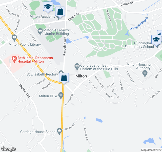 map of restaurants, bars, coffee shops, grocery stores, and more near  in Milton