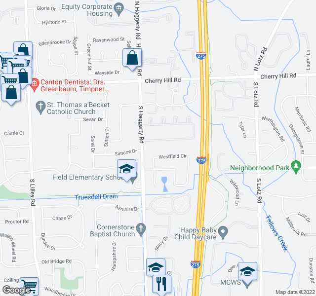 map of restaurants, bars, coffee shops, grocery stores, and more near 41375 Southwind Dr in Canton