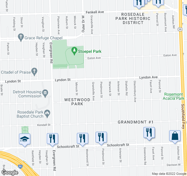 map of restaurants, bars, coffee shops, grocery stores, and more near 14432 Grandville Ave in Detroit