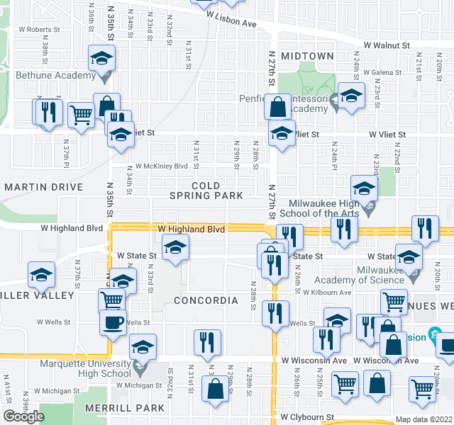 map of restaurants, bars, coffee shops, grocery stores, and more near 1143 N 29th St in Milwaukee