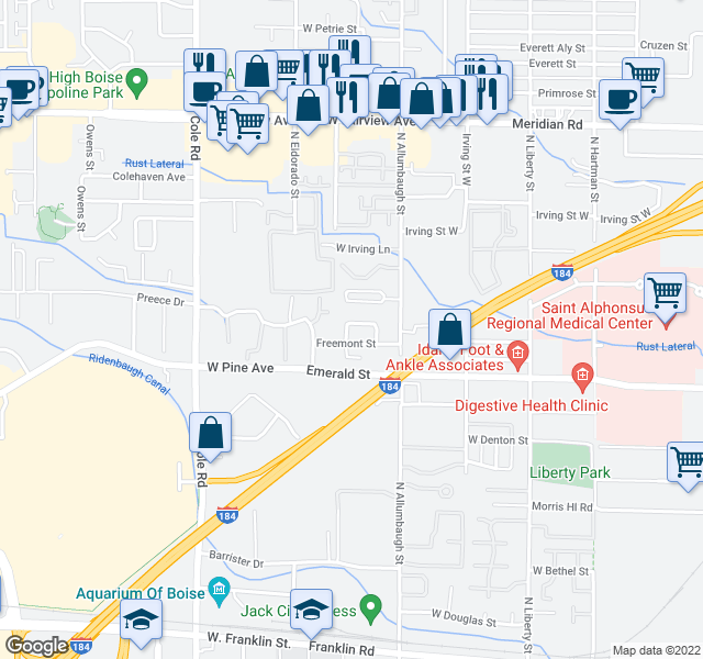 map of restaurants, bars, coffee shops, grocery stores, and more near 6937 W Preece Ln in Boise