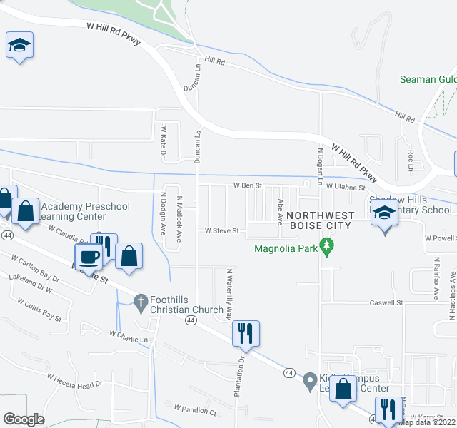 map of restaurants, bars, coffee shops, grocery stores, and more near 7534 N Misty Cove Ave in Boise