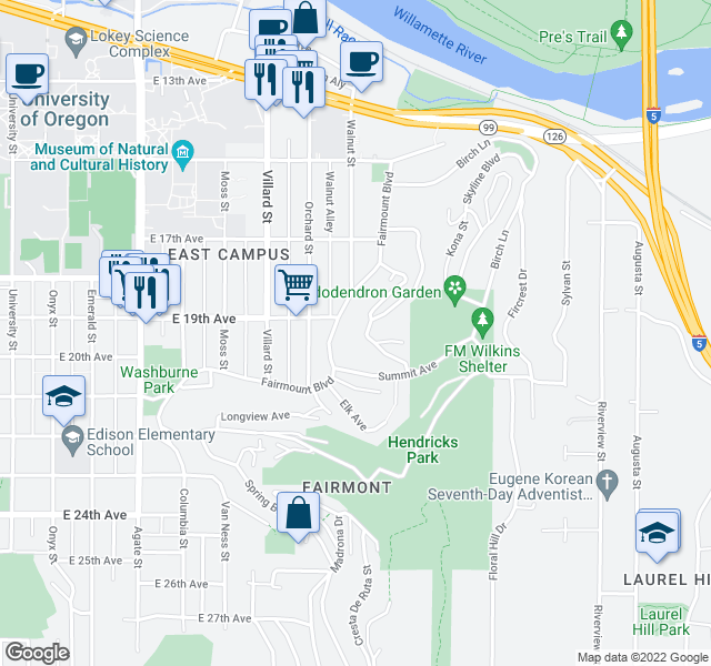 map of restaurants, bars, coffee shops, grocery stores, and more near 1915 Fairmount Boulevard in Eugene