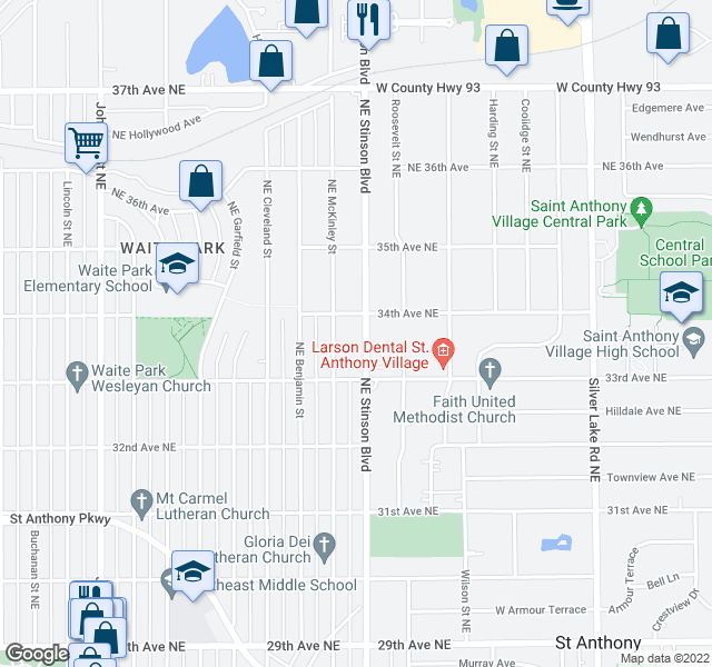 map of restaurants, bars, coffee shops, grocery stores, and more near 3300-3398 Northeast McKinley Street in Minneapolis