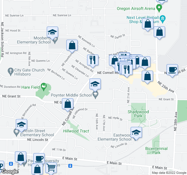 map of restaurants, bars, coffee shops, grocery stores, and more near 1535 NE Grant St in Hillsboro