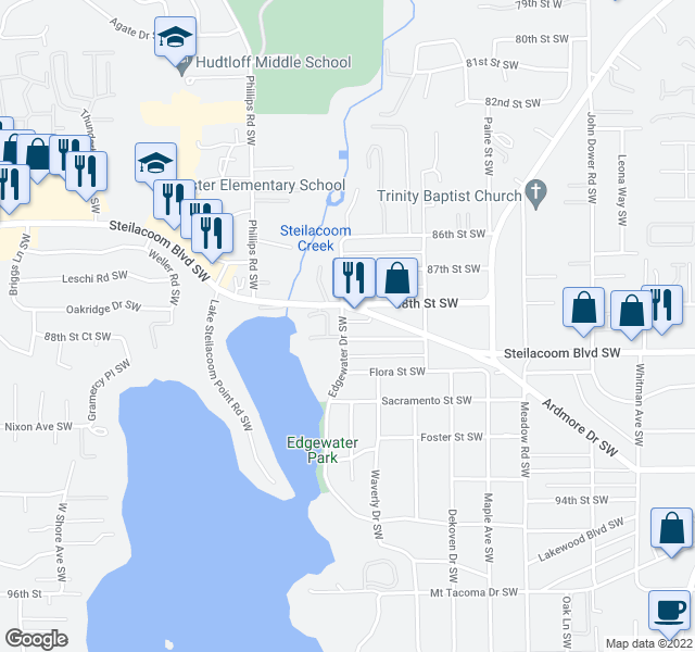 map of restaurants, bars, coffee shops, grocery stores, and more near 8900-8998 Edgewater Drive Southwest in Lakewood